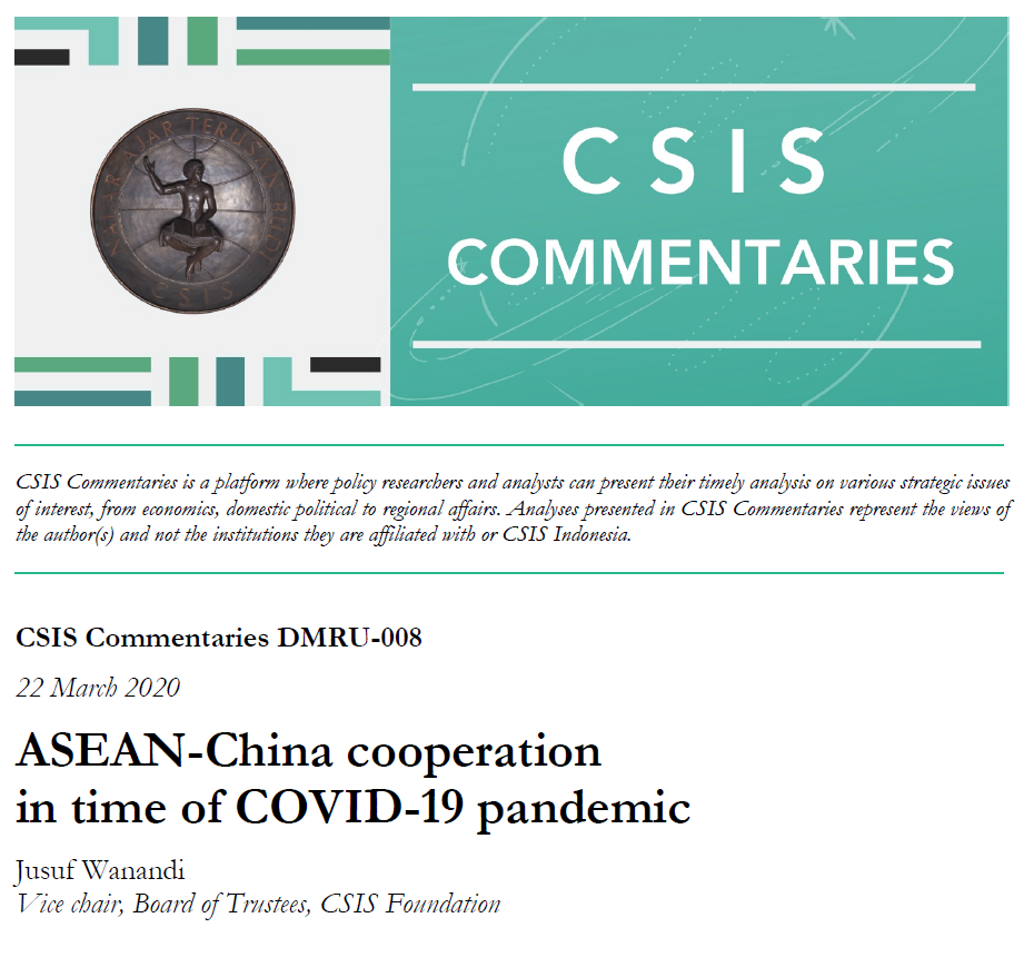 ASEAN-China Cooperation In Time Of COVID-19 Pandemic