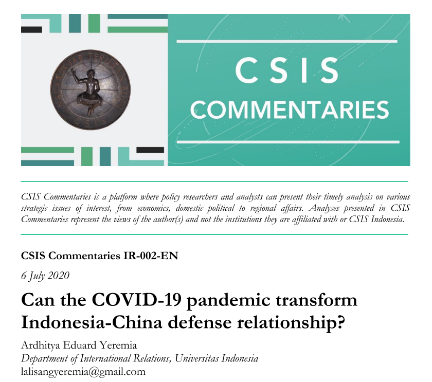 Can the COVID-19 pandemic transform Indonesia-China defense relationship?