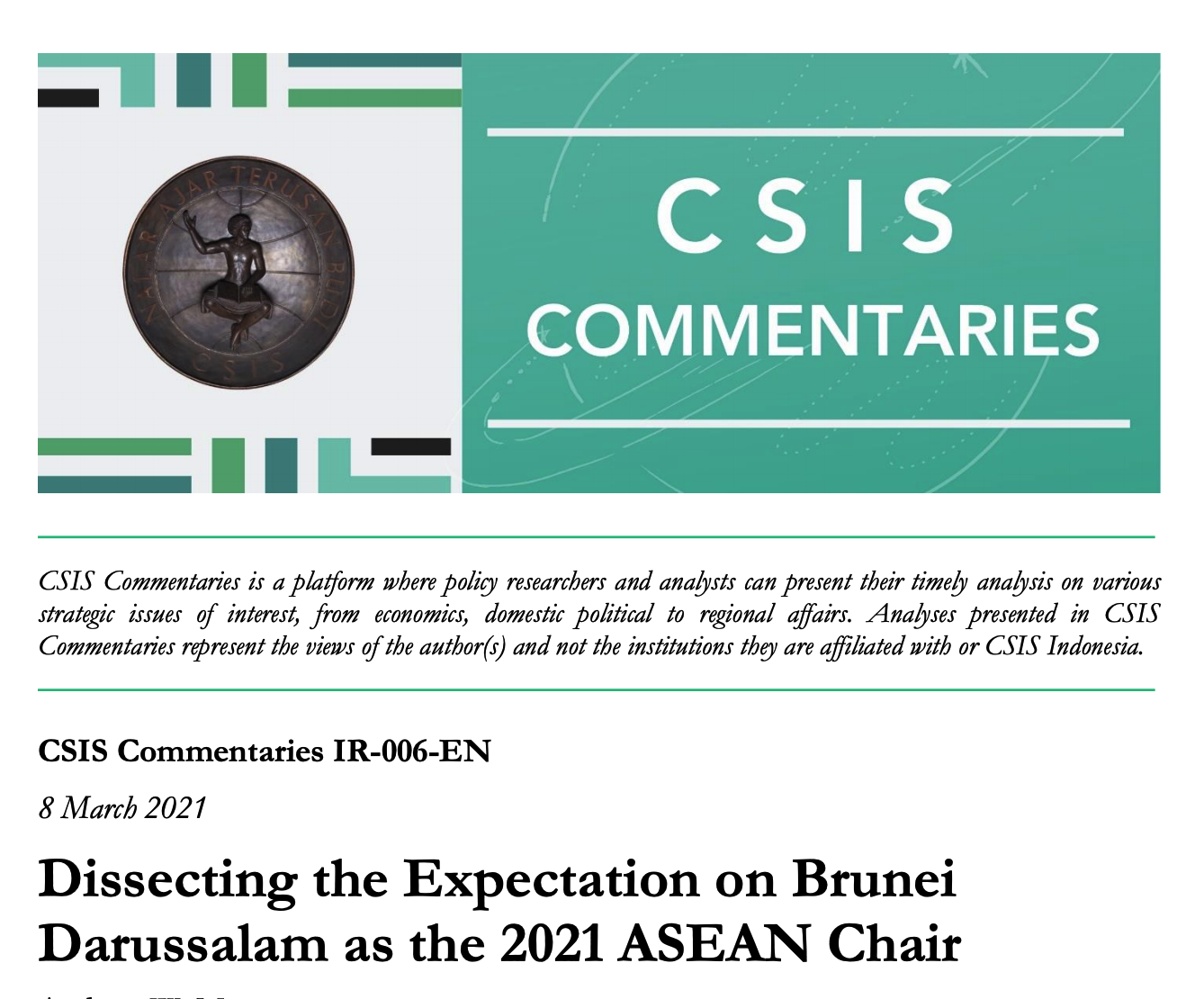 Dissecting the Expectation on Brunei Darussalam as the 2021 ASEAN Chair